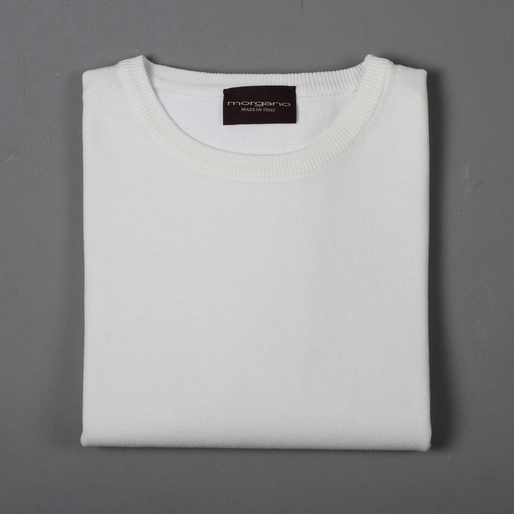 Morgano Cotton Knit T-Shirt Off White
