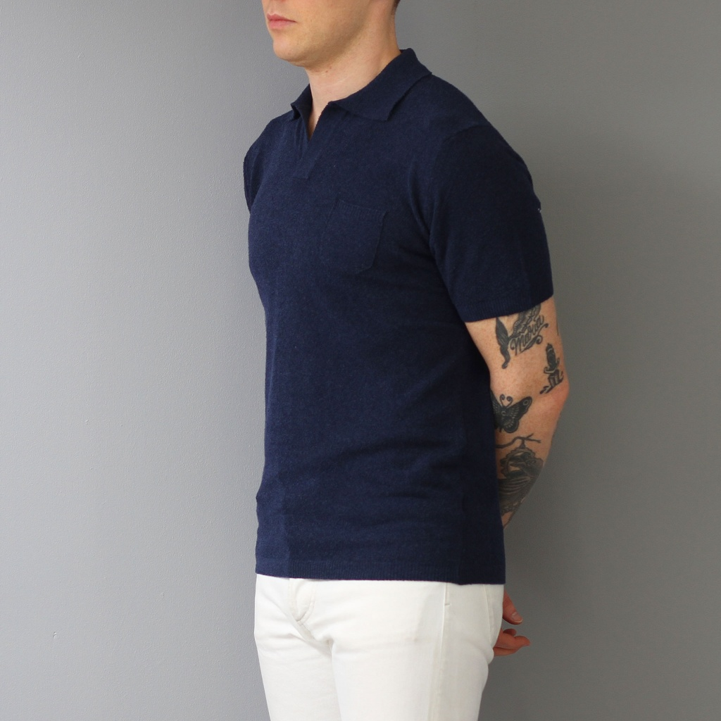 Morgano Polo Short Sleeve Terry Navy