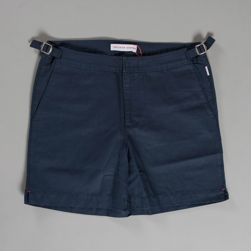 Orlebar Brown Bulldog Shorts Linen Cotton Navy