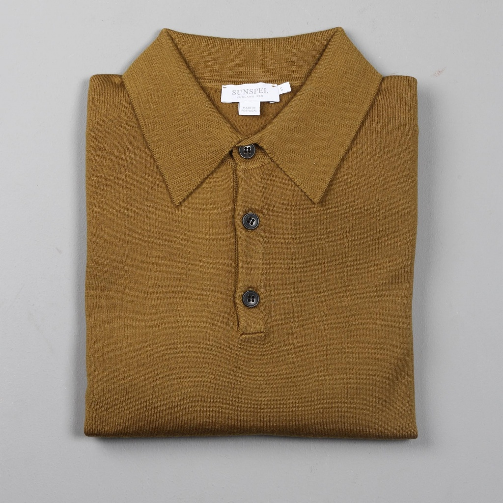 Sunspel Merino Polo Jumper Alder