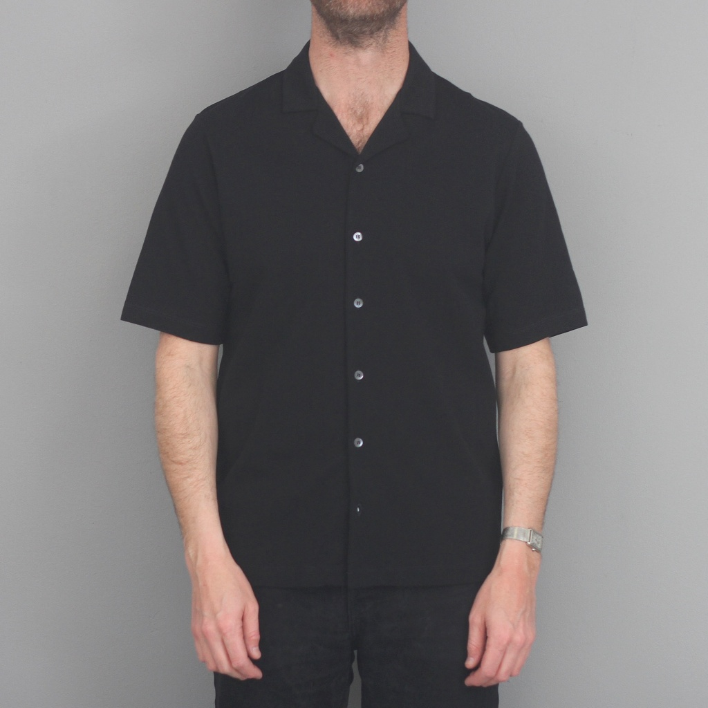 Sunspel Short Sleeve Camp Collar Shirt Black
