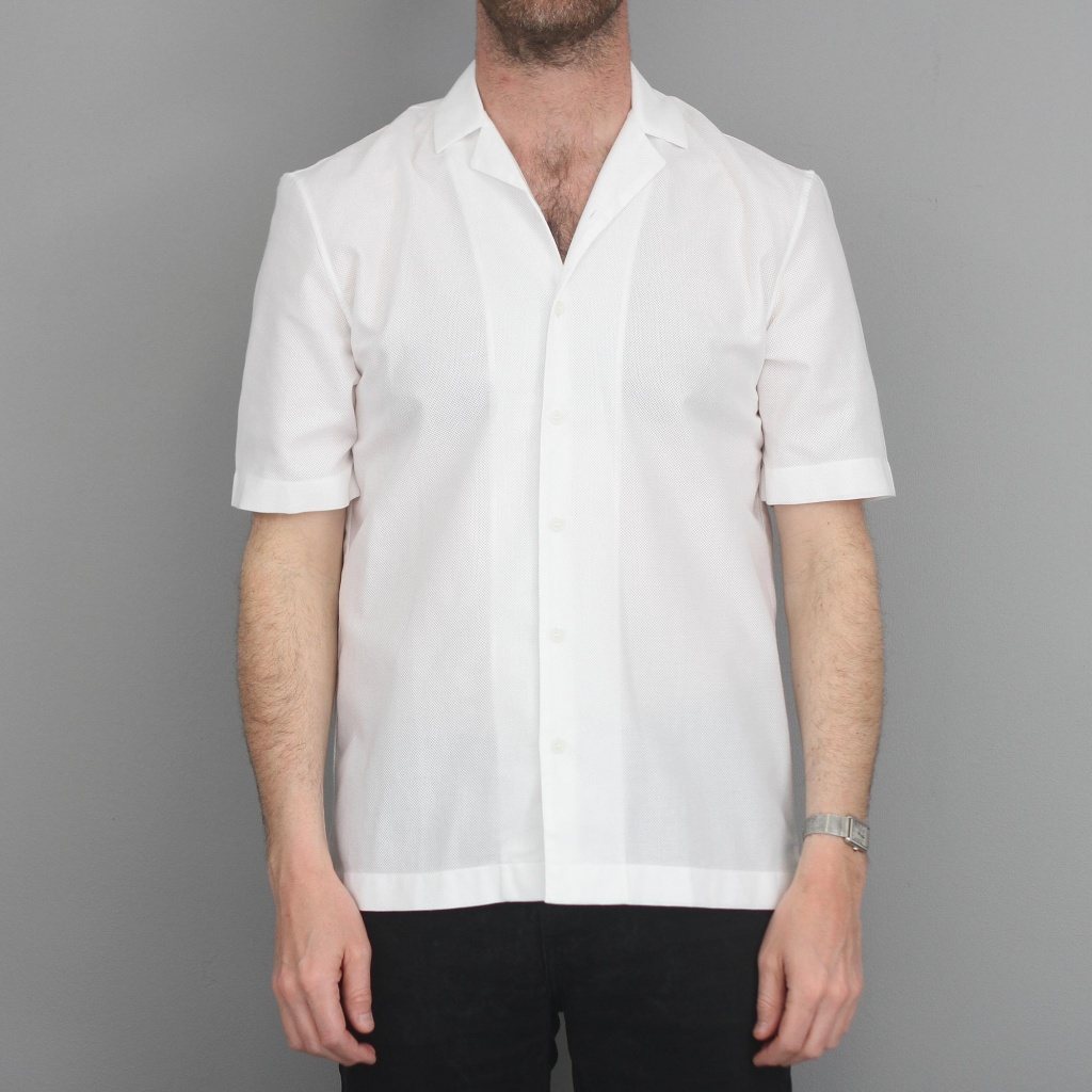 Sunspel Short Sleeve Camp Collar Shirt White