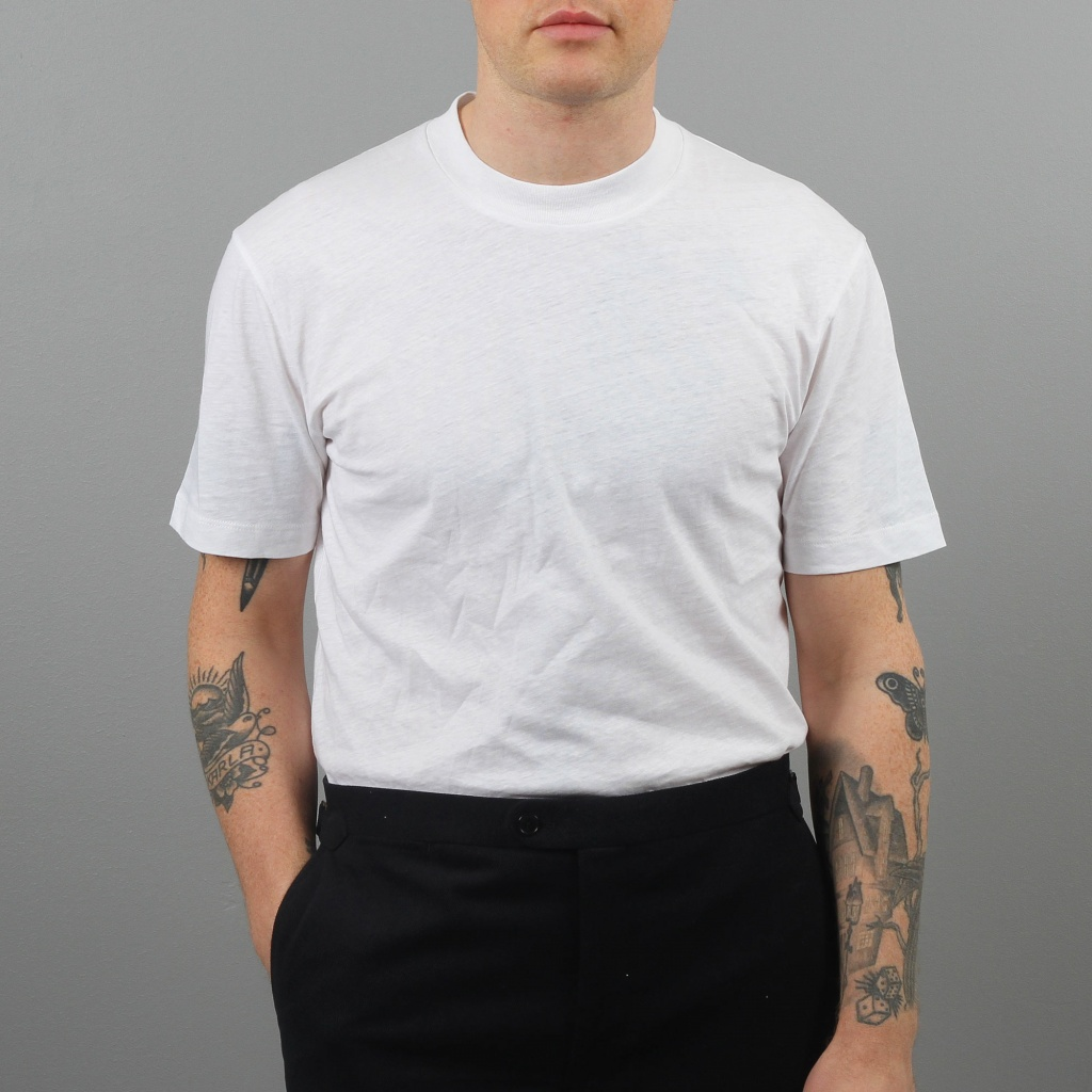 Sunspel Short Sleeve Relaxed Slub Cotton Crew Off White