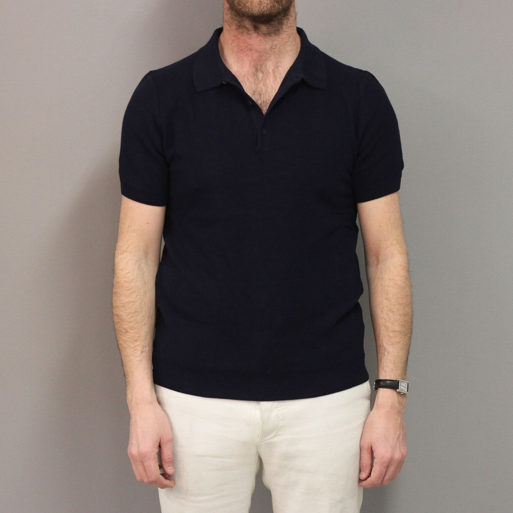 Sunspel Short Sleeve Rack Stitch Polo Navy
