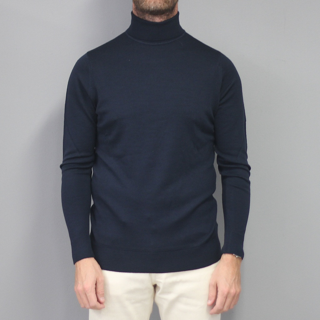 Sunspel Merino Roll Neck Jumper Light Navy