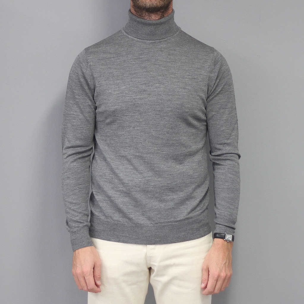 Sunspel Merino Roll Neck Jumper Mid Grey