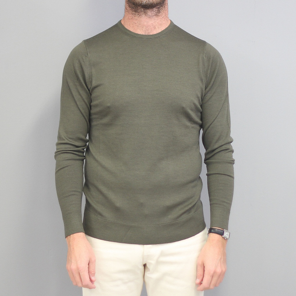Sunspel Merino Crew Neck Jumper Military Green