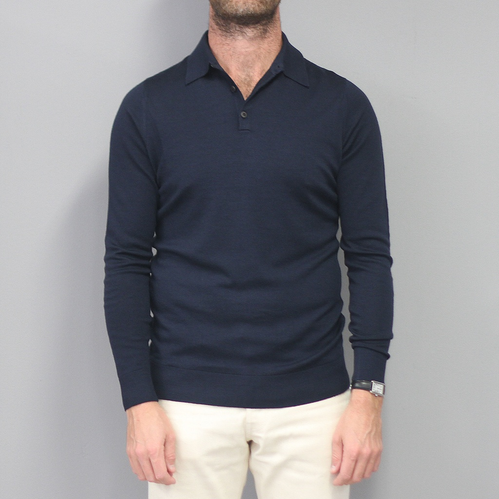Sunspel Merino Polo Jumper Light Navy