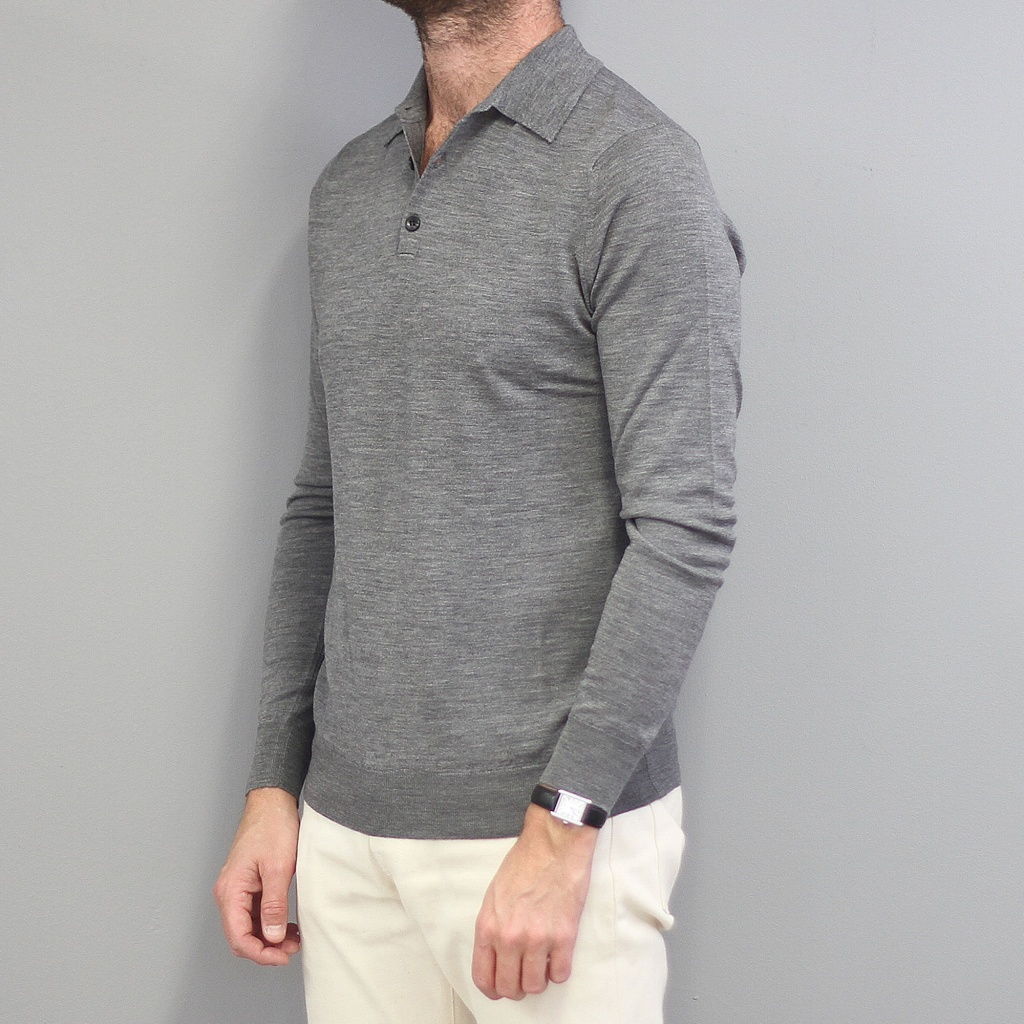 Sunspel Merino Polo Jumper Mid Grey