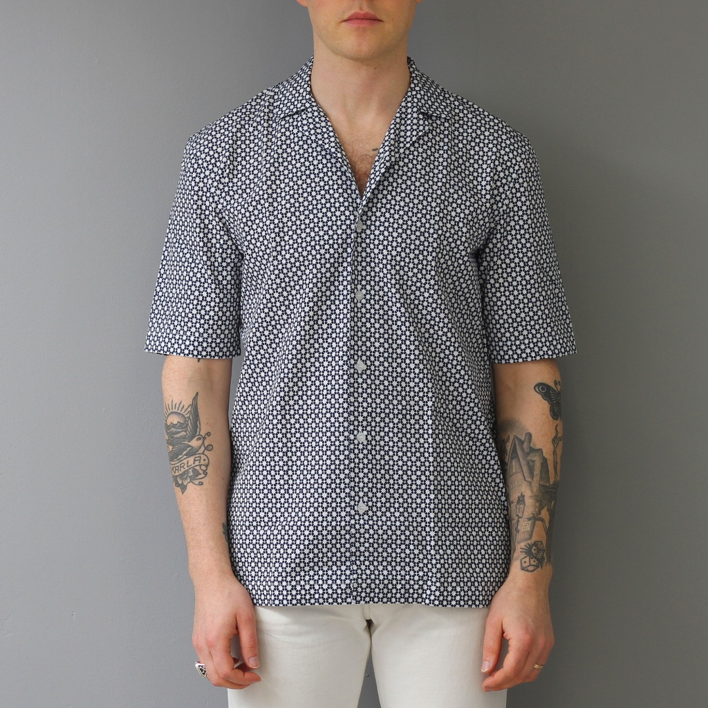 Sunspel Short Sleeve Shirt Shibori Flower Navy