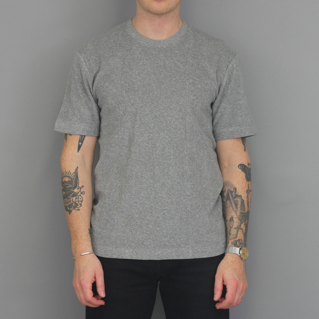 Sunspel Organic Towelling T-Shirt Grey Melange