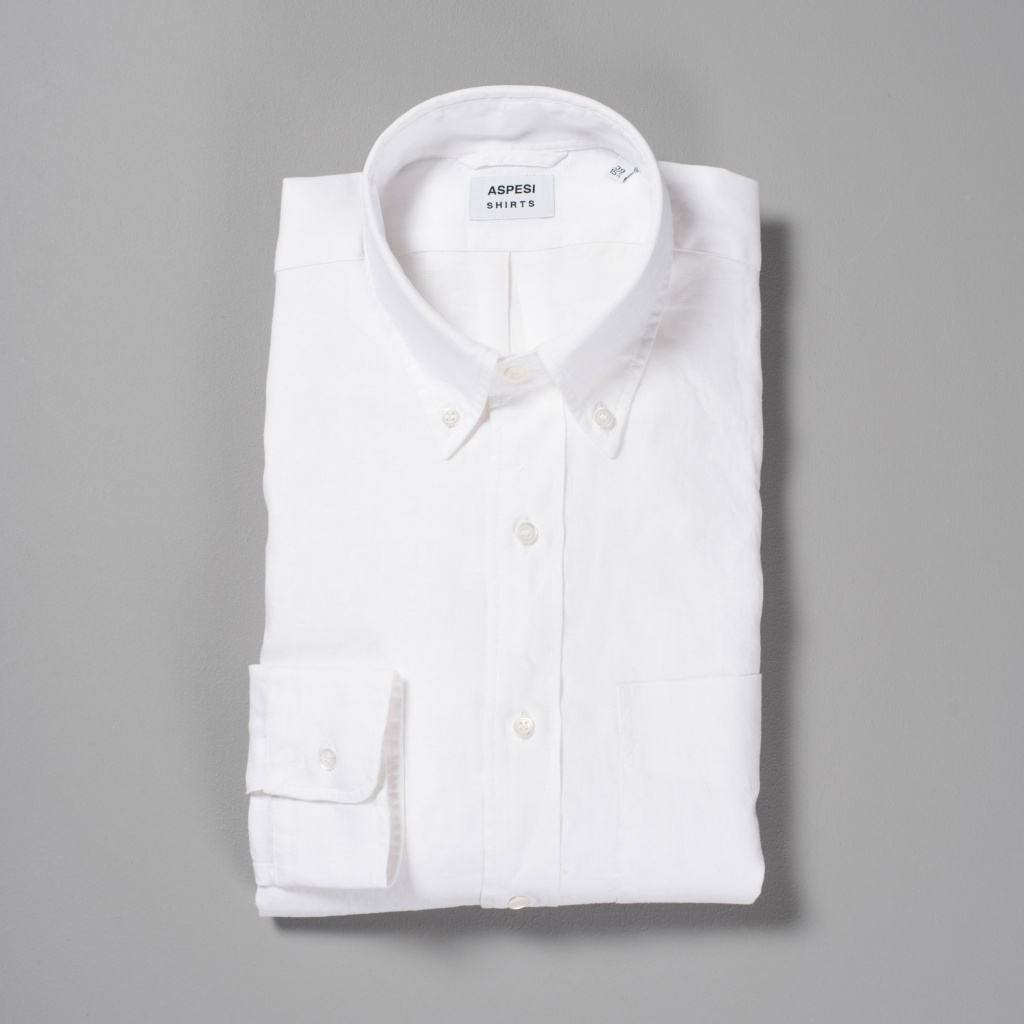 Aspesi Linen Button Down Shirt White