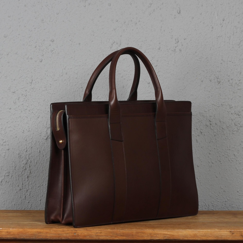 Frank Clegg Chocolate Zip Top Briefcase