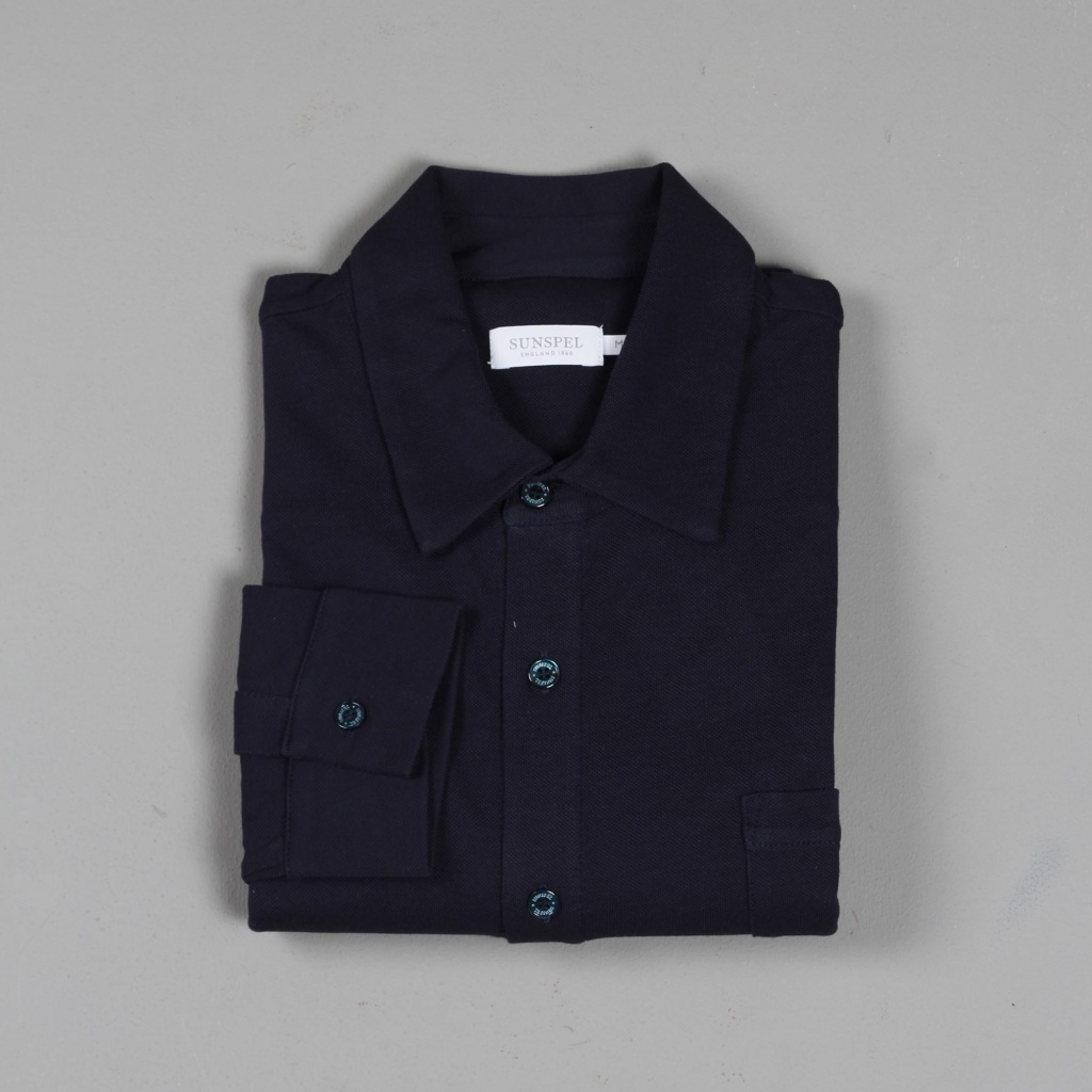 58580bd1418 Sunspel Long Sleeve Pima Cotton Piqué Shirt Navy