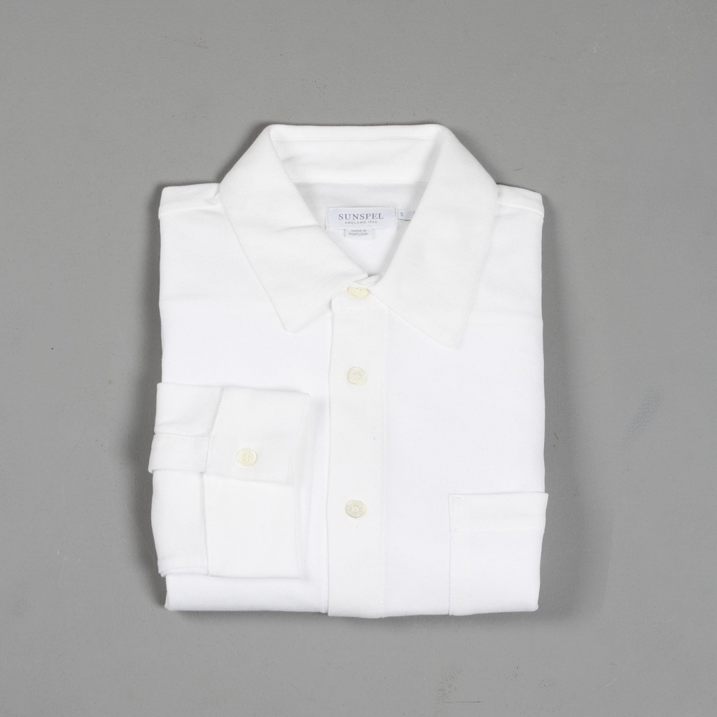 a2cb4e1d077 Sunspel Long Sleeve Pima Cotton Piqué Shirt White