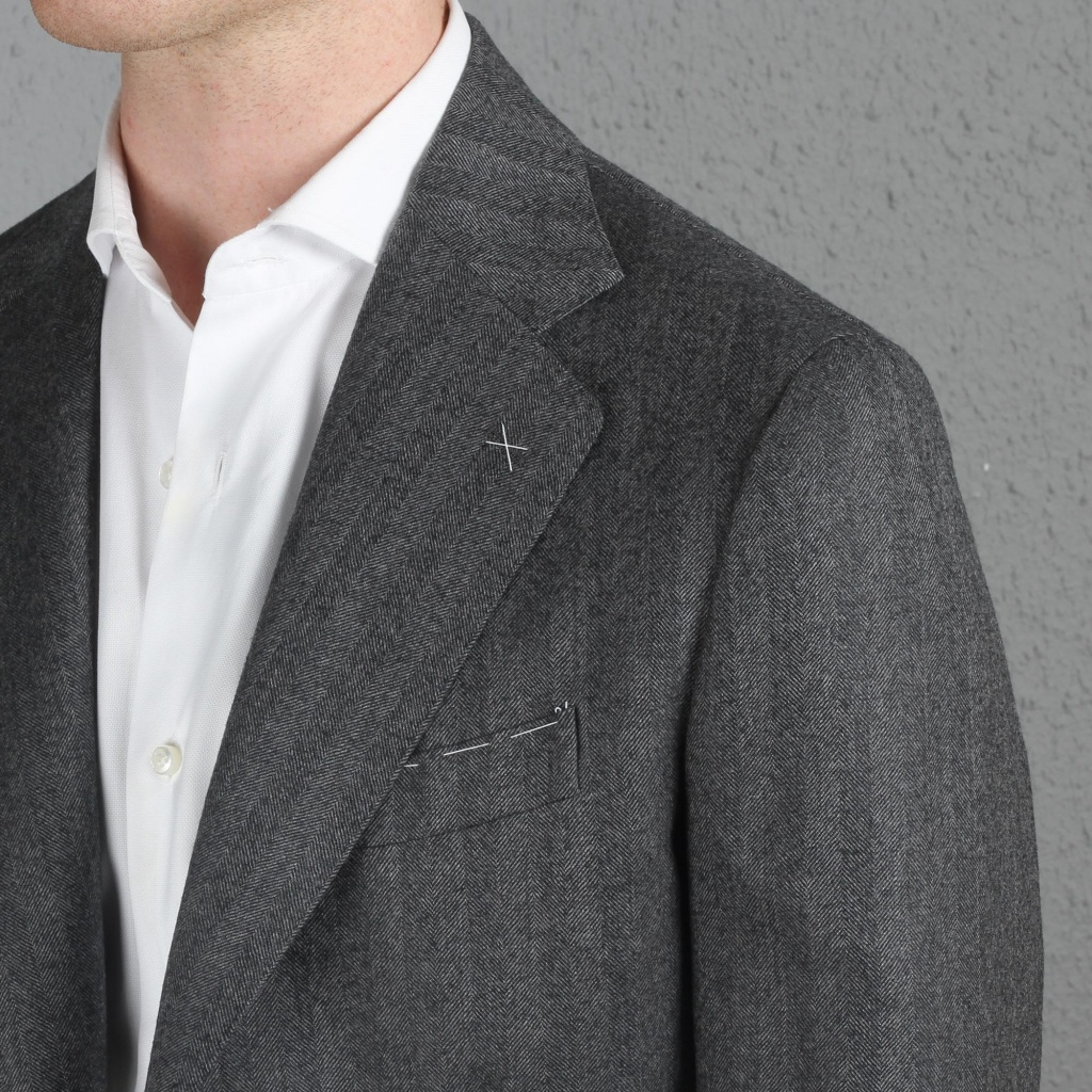 De Petrillo Jacket Grey Herringbone