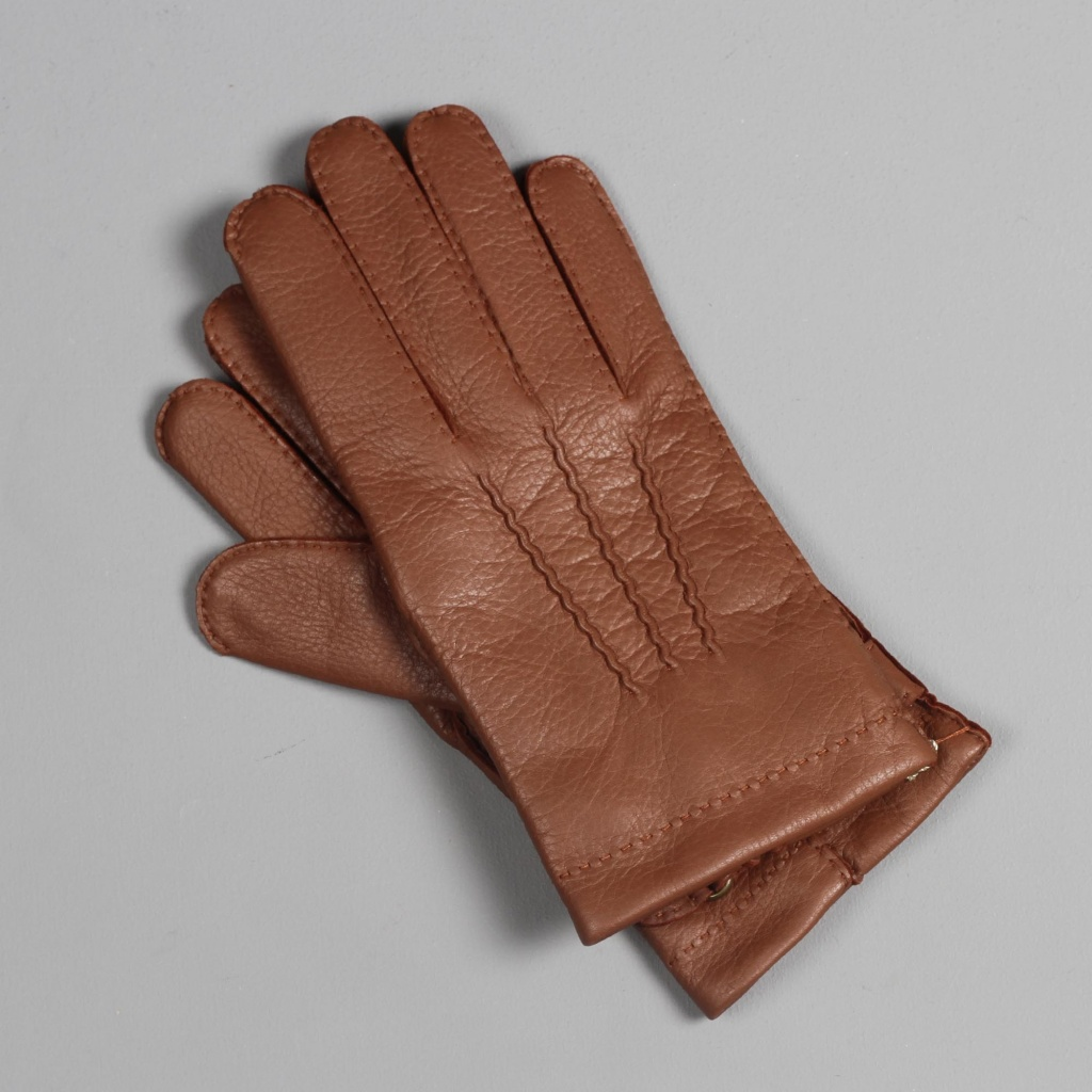 Dents Deerskin Gloves Strap Closure Havana