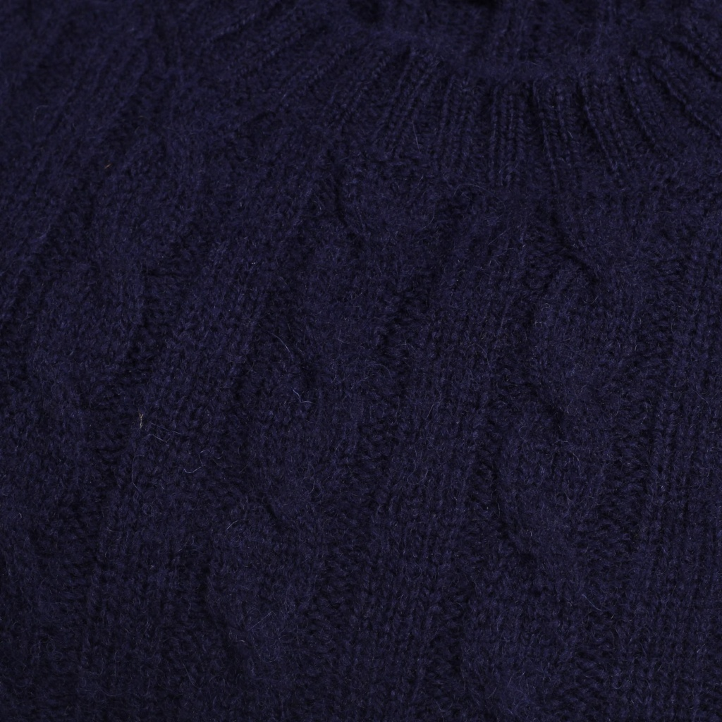Drake's Sweater Brushed Cable Knit Navy