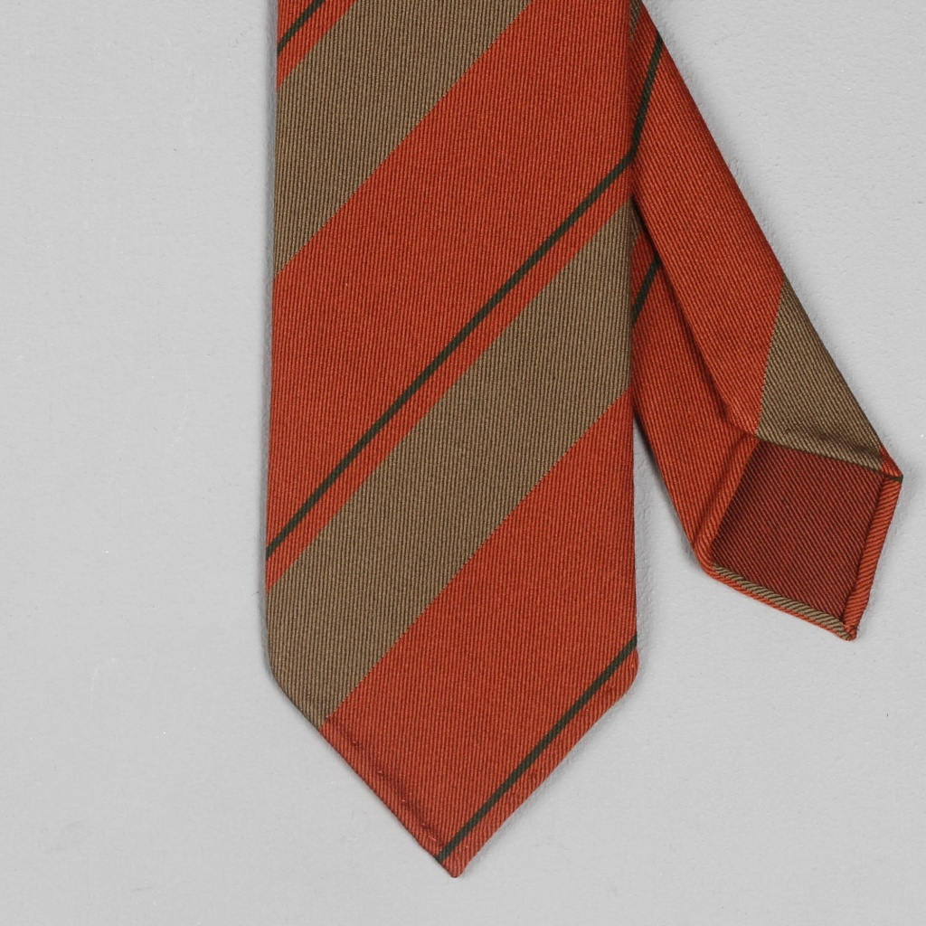 Drake's Tie Handrolled Wool Rust/Brown