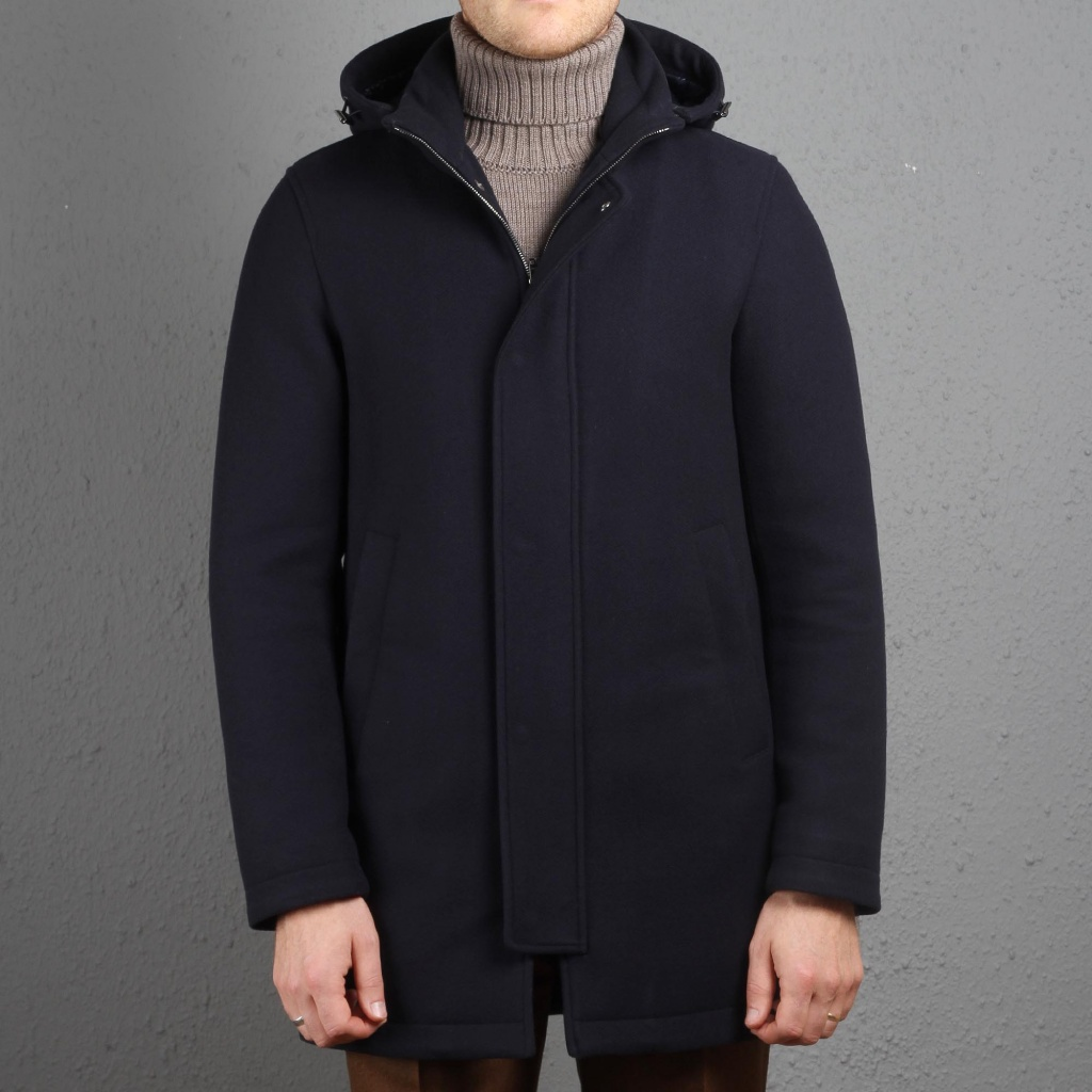 Herno Coat/Parka Waterproof Navy Wool