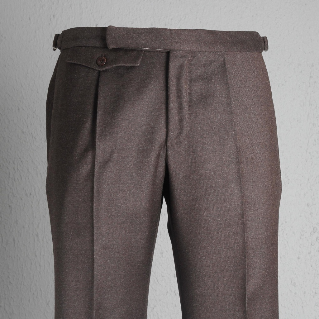 Incotex Trouser Flannel Brown With Buckle