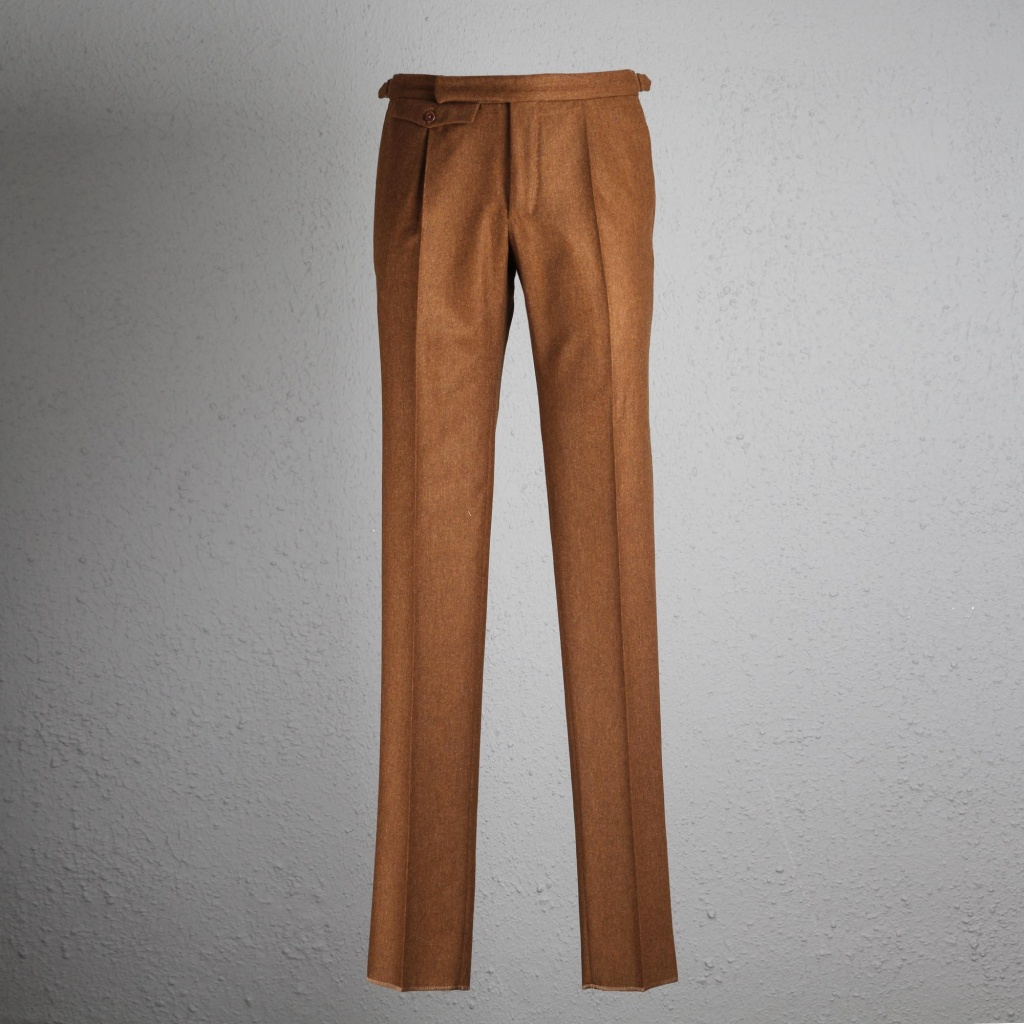 Incotex Trouser Flannel Light Brown with buckle