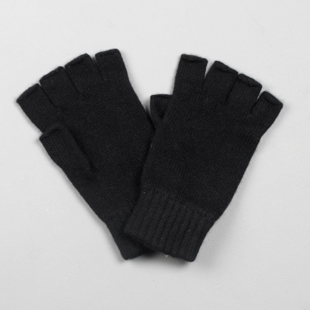 Johnstons Cashmere Gloves Fingerless Black