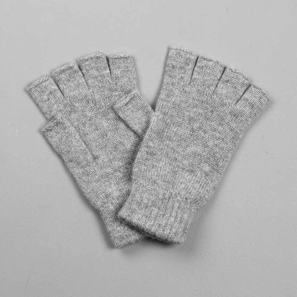 Johnstons Cashmere Gloves Fingerless Light Grey