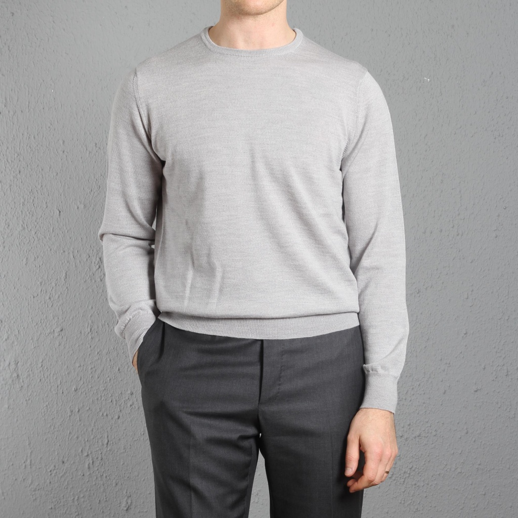 Morgano Crewneck Merino Light Grey