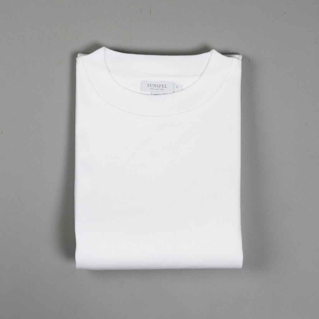 Sunspel Brushed Cotton Mock Neck T-Shirt White
