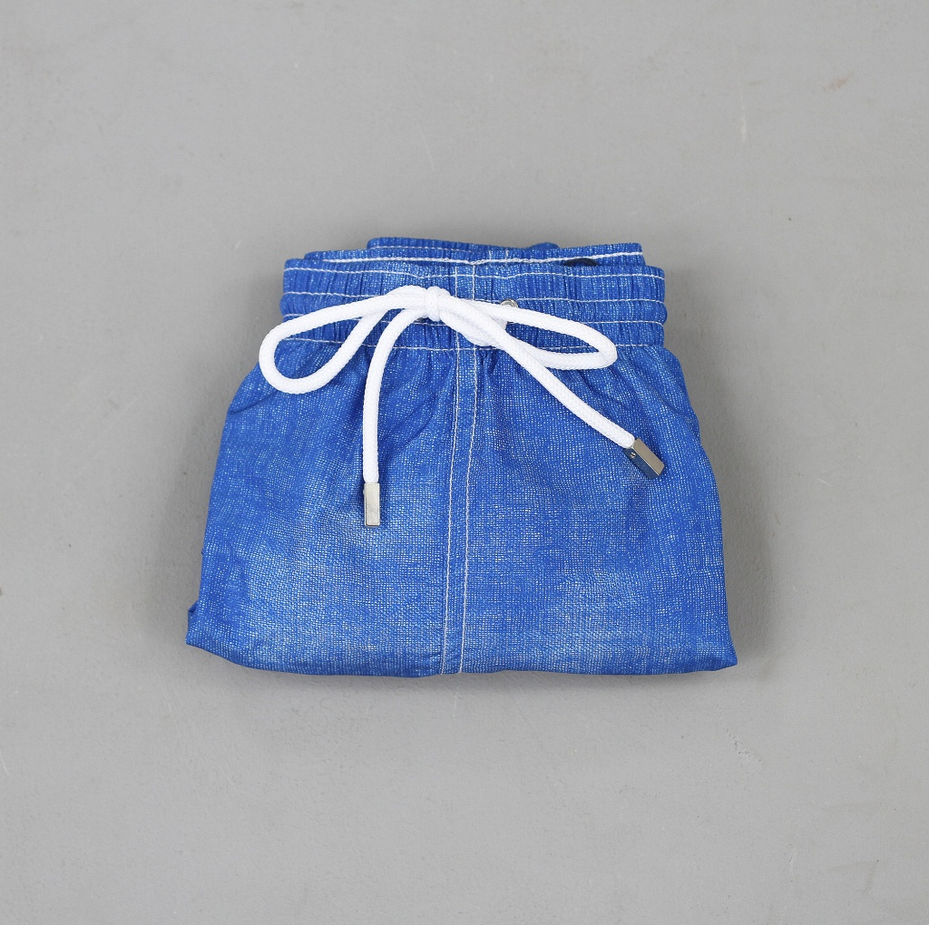 Barba Swim Trunk Azure Blue Canvas Texture