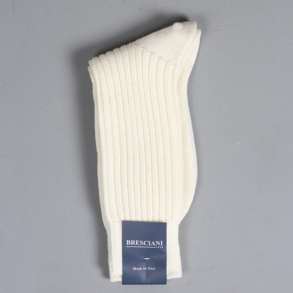 Bresciani Heavy Knit Sock Pearl White