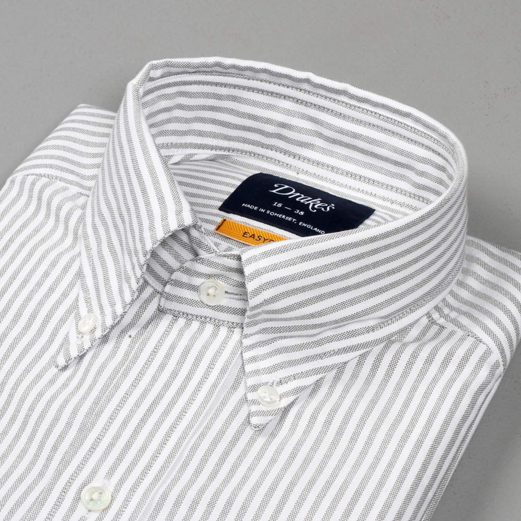 Drake's Shirt Oxford Green/White Stripe