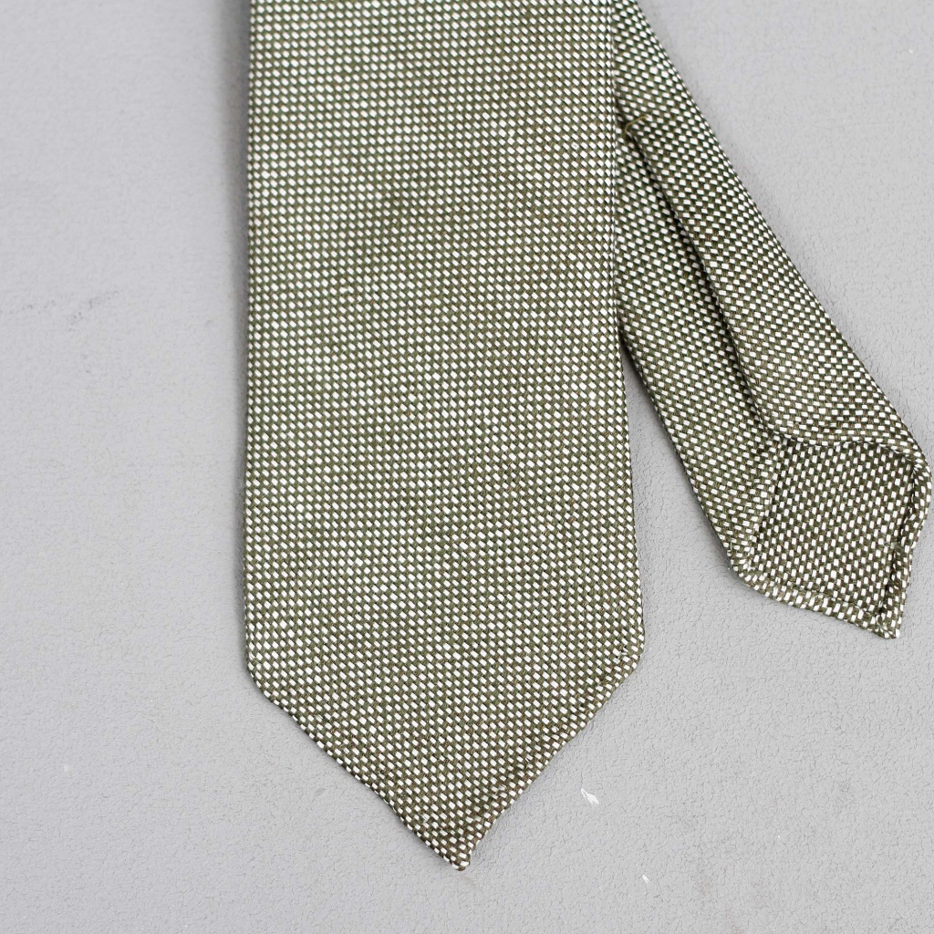 Drake's Tie Dark Green Pin Dot