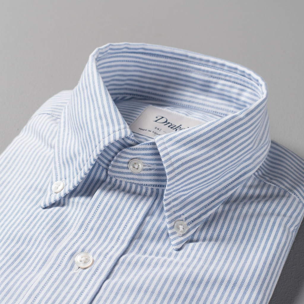 Drake's Shirt Oxford Blue/White Stripe