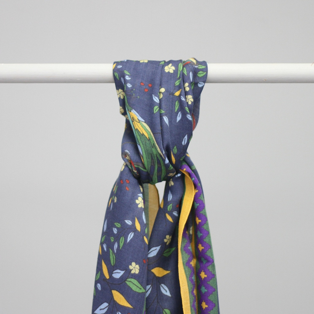 Drake's Scarf Birds And Flowers Navy