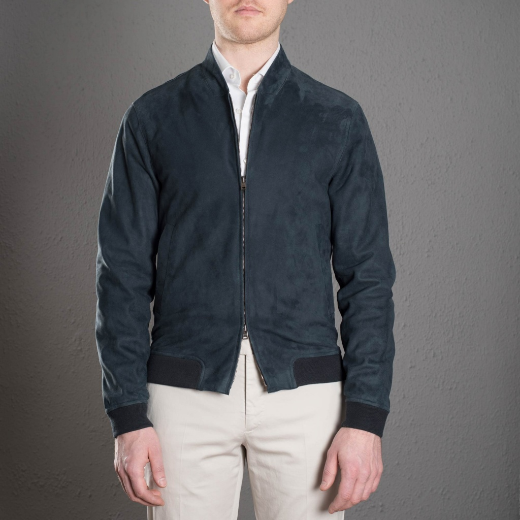 Herno Suede Bomber Navy