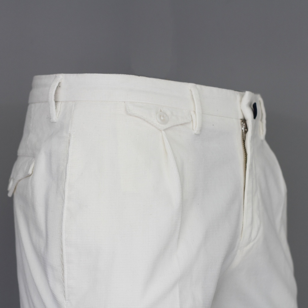 Incotex Trouser White Waffle Cotton Slim Fit