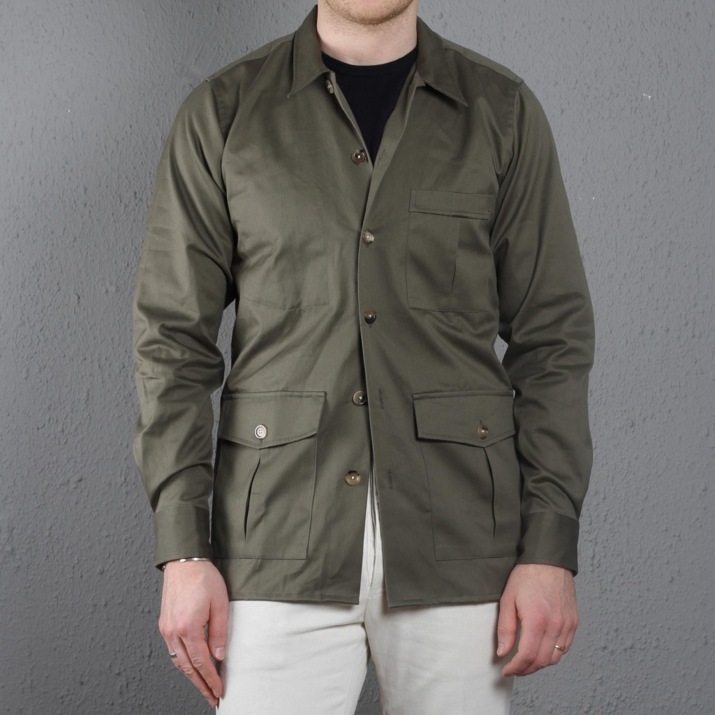 Drake's Overshirt Cotton Olive