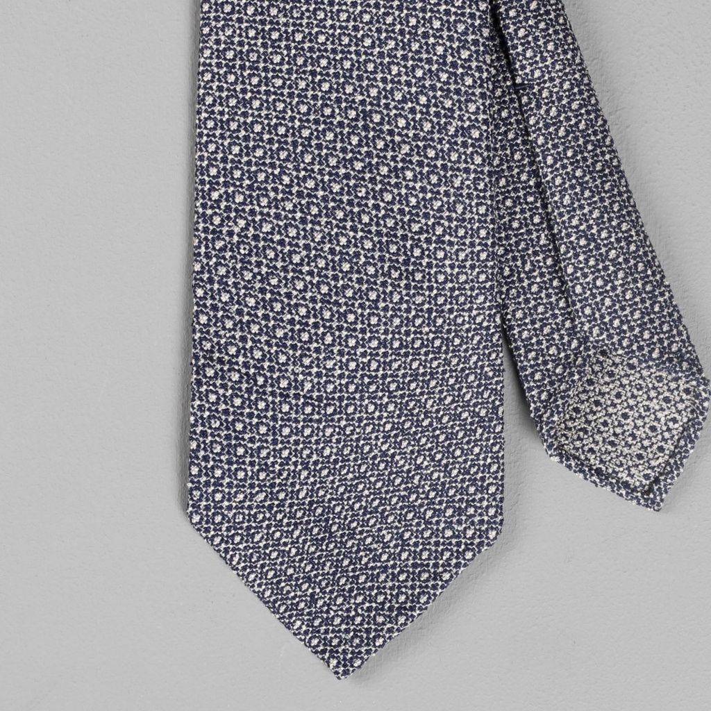 Drake's Tie Navy-White Silk-Cotton