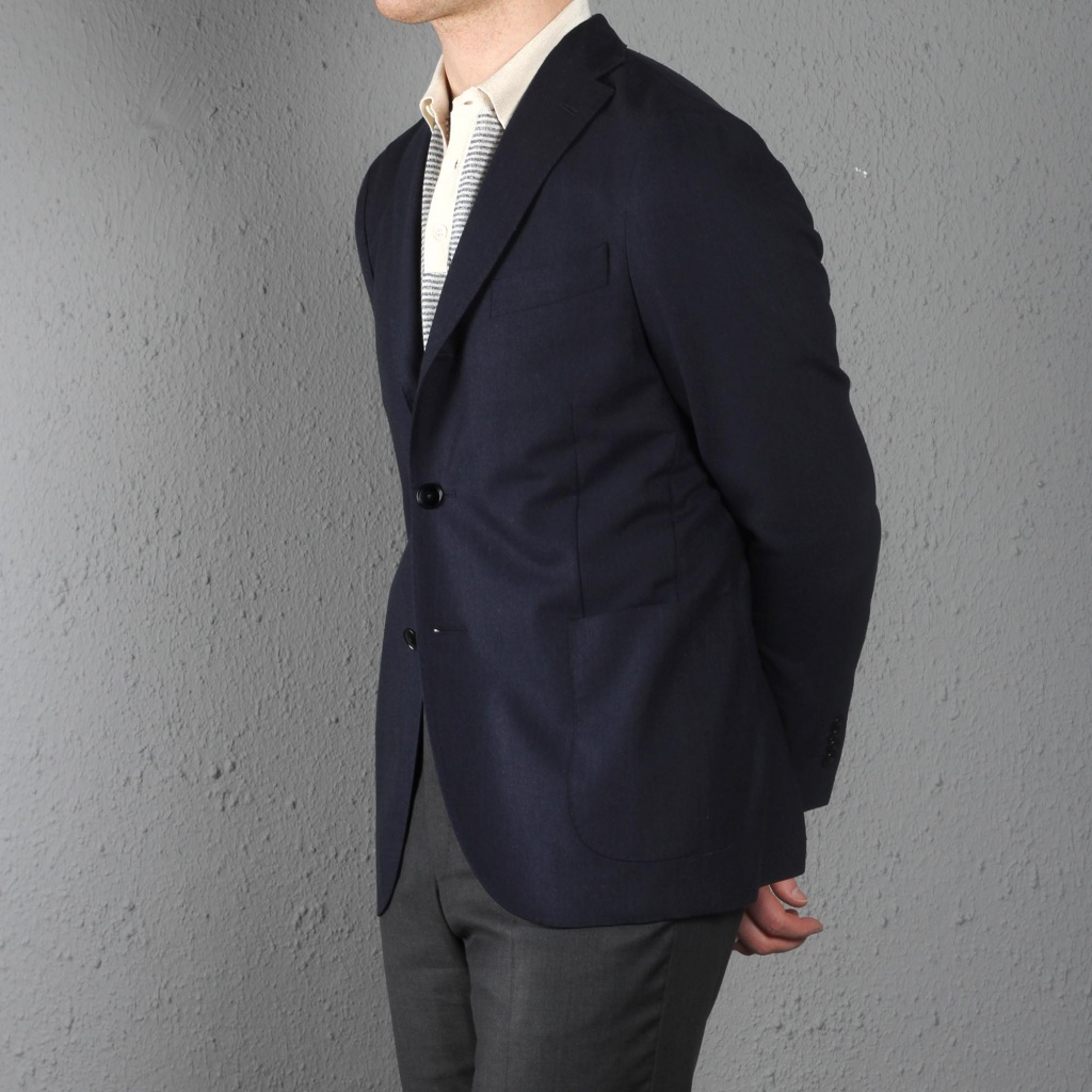 Boglioli K jacket Silk Wool Herringbone Navy