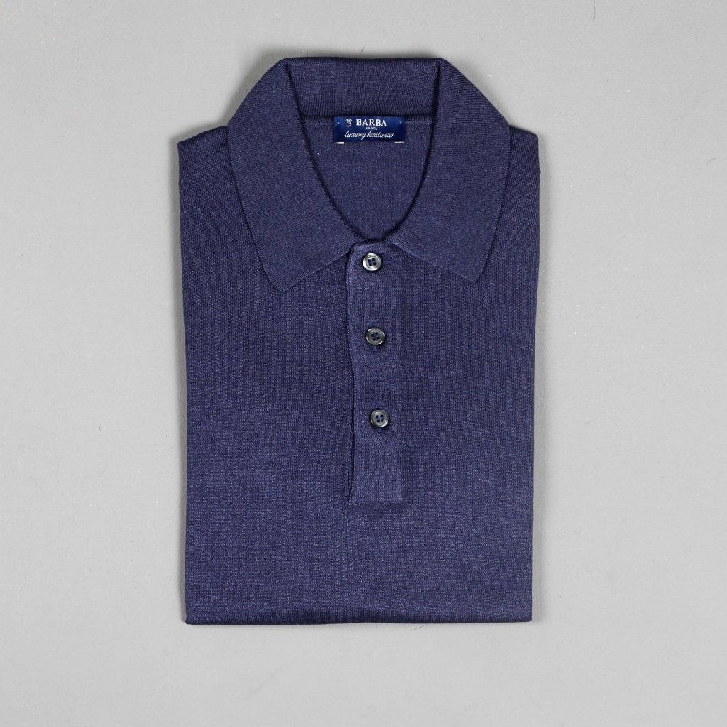 Barba Silk Polo Blue