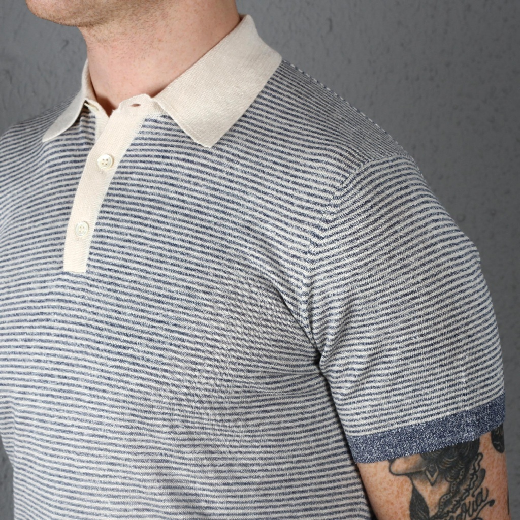 Morgano Linen Cotton Knit Polo Blue White