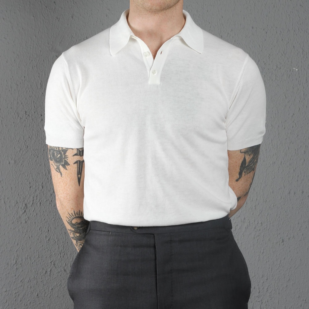 Morgano Cotton Knit Polo Off White