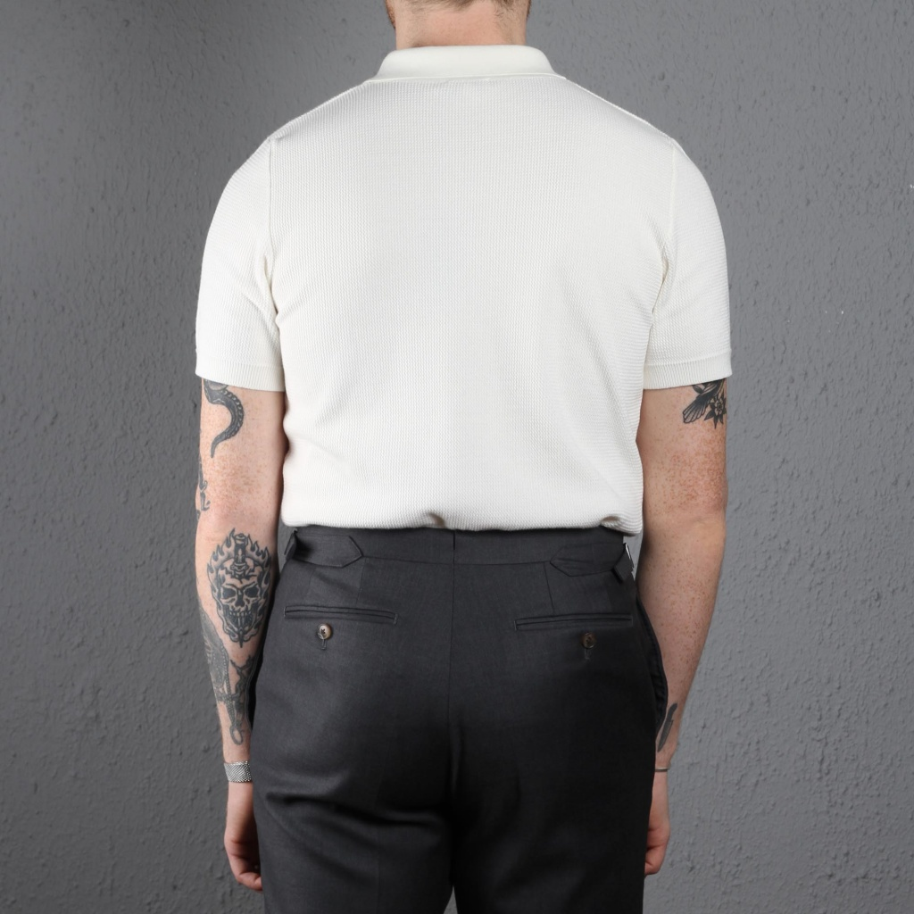 Sunspel Short Sleeve Rack Stitch Polo Off White