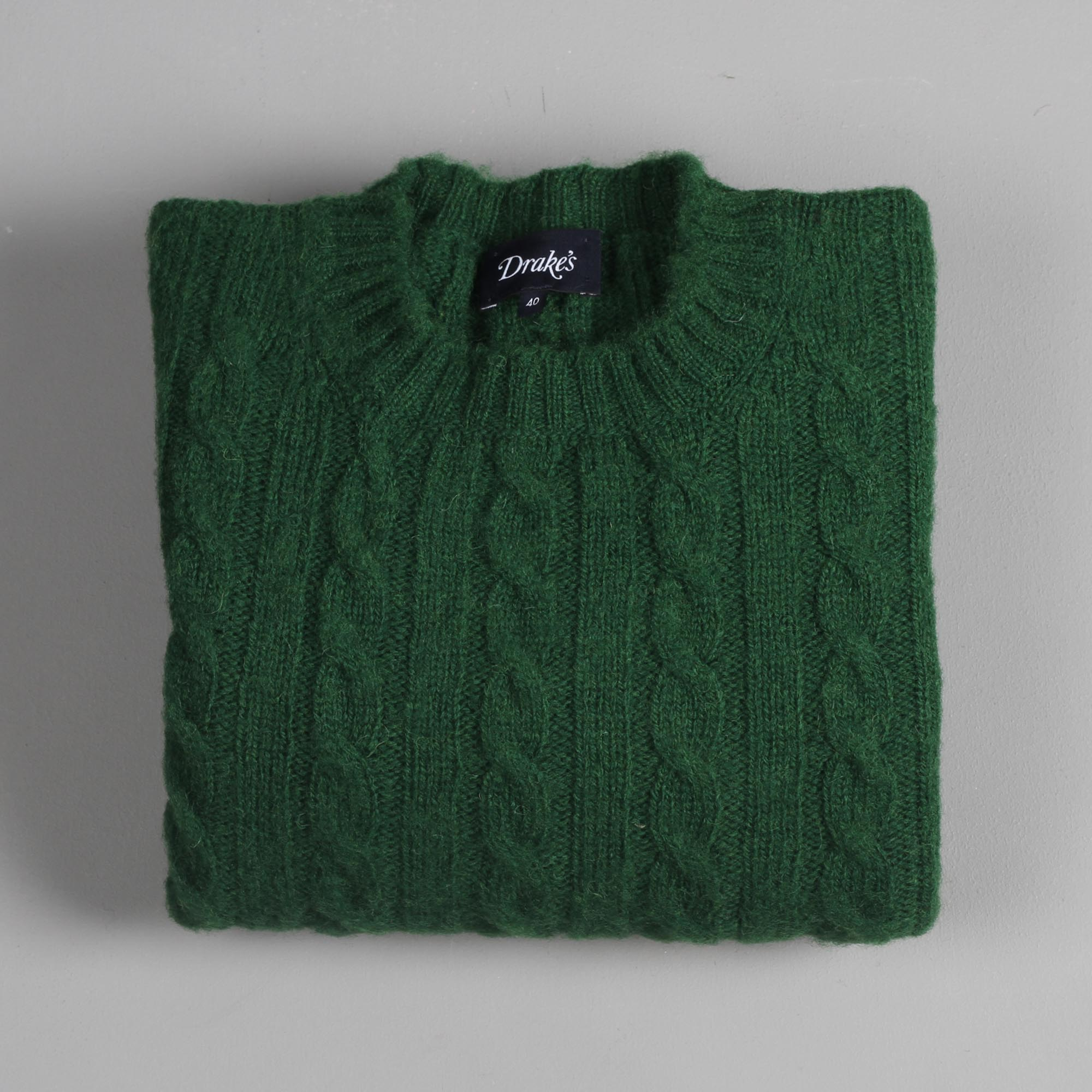 6ca1f9408 Drake s Sweater Brushed Cable Knit Green