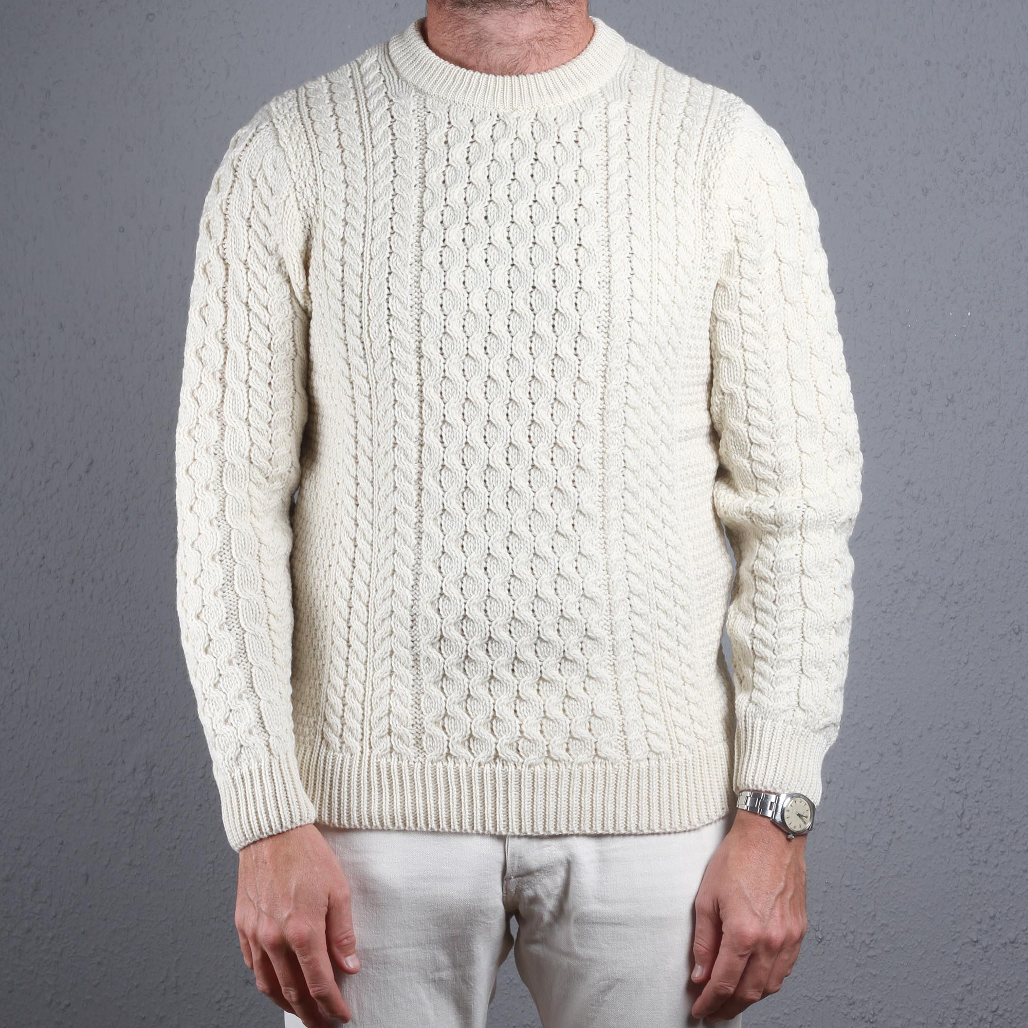 84787067f52a1d Sunspel Fisherman Cable Knit Sweater