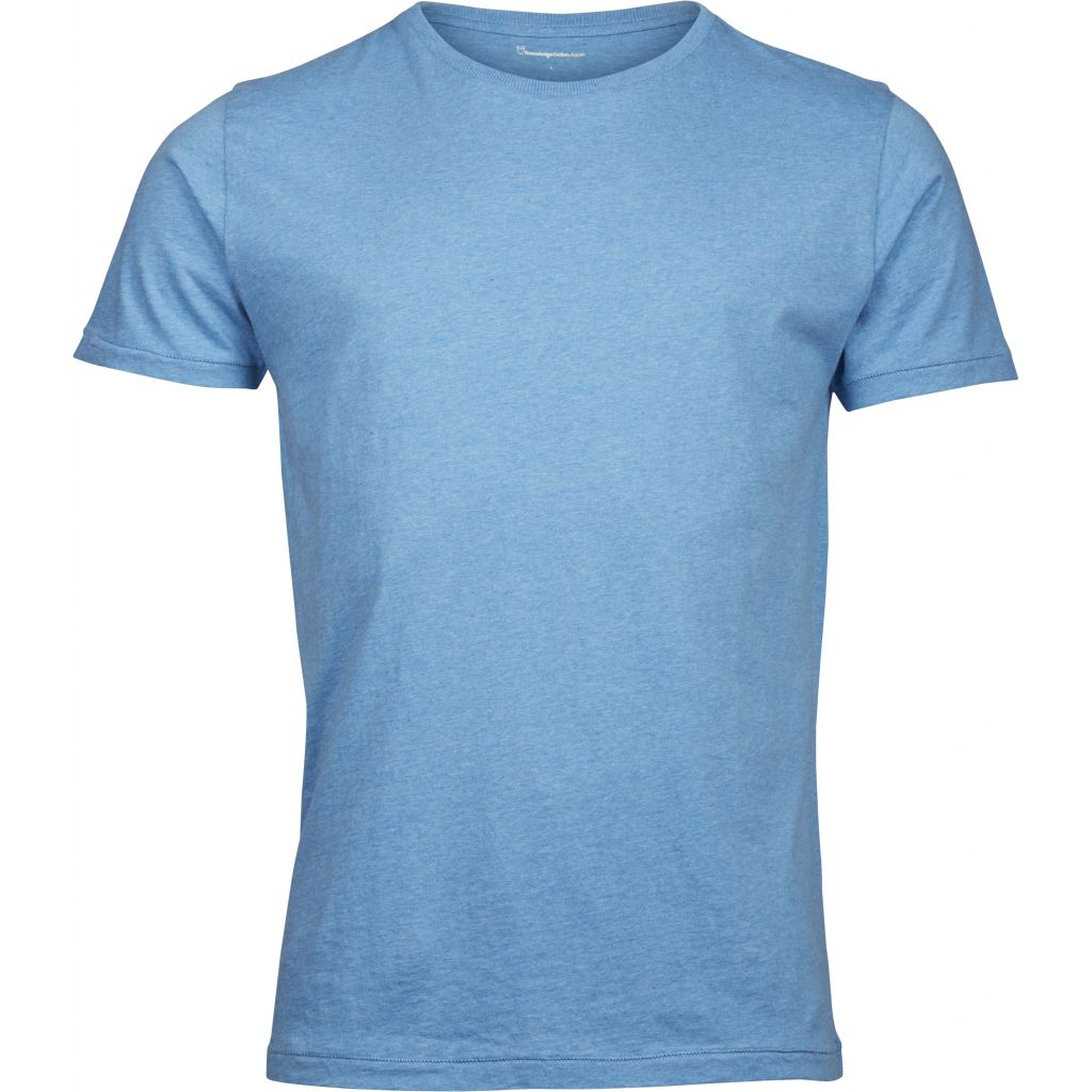 Basic Regular Fit O-Neck Tee - Light Blue Melange