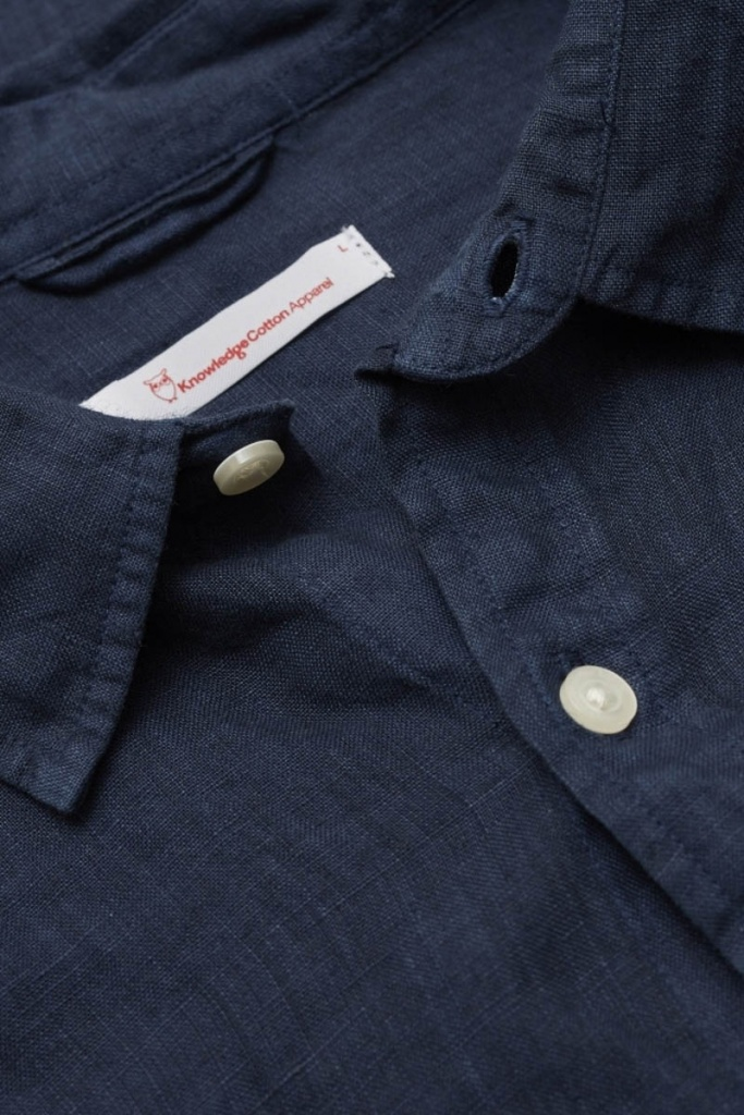 Garment Dyed Linen Shirt - Total Eclipse