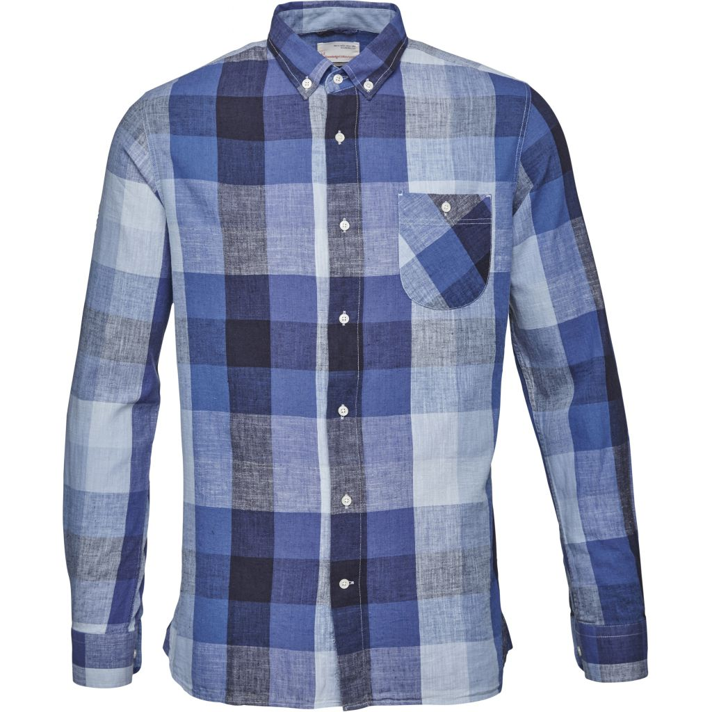 Linen Checked Shirt - Peacoat